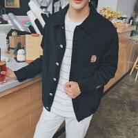 春装男士新款简约牛奶刺绣夹克衫韩版宽松纯色翻领上衣外套潮
