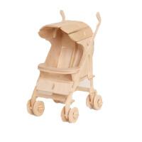 恐龙木质拼图立体3d模型儿童力仿真动物手工木板拼装木制玩具 童车