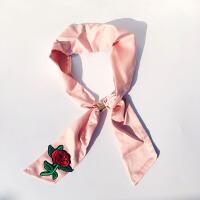 -民族风甜美刺绣玫瑰花假领珍珠吊坠花朵绸缎项链颈链绣花丝巾装饰