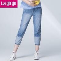 【清仓3折价119.7】Lagogo/拉谷谷2019年夏季新款时尚百搭纽扣口袋牛仔裤GANN315C52