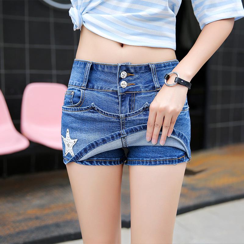 新款短裤打底牛仔裤修身显瘦牛仔短裤裙防走光热裤子女