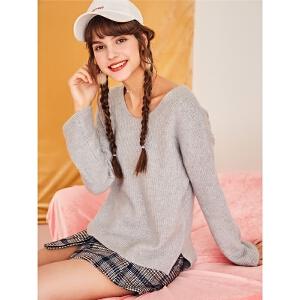 【一口价143元】内搭打底针织衫2018新款网红韩版套头长袖上衣宽松毛衣女慵懒