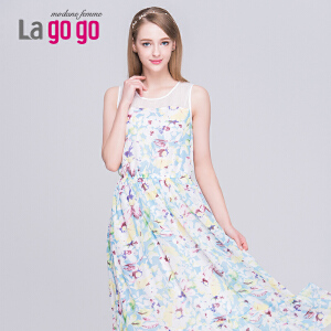 Lagogo/拉谷谷2015夏季印花纱网镂空波西米亚连衣裙