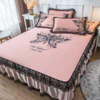 床裙冰丝席凉席三件套1.8m床夏季可水洗折叠夏天空调软席子1.5米2