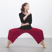 舞蹈练功服 舞蹈裤现代舞练功阔腿裤 宽松莫代尔拉丁民族裤子