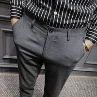 秋冬季新款男士英伦灰色长裤西装裤时尚潮男韩版商务修身休闲裤子