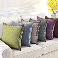 日式棉麻抱枕套 美式靠垫靠包现代简约纯色腰枕沙发方枕汽车靠枕