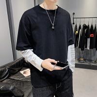 ins潮款男春秋新款长袖T恤潮流时尚假两件纯棉打底衫男装上衣服