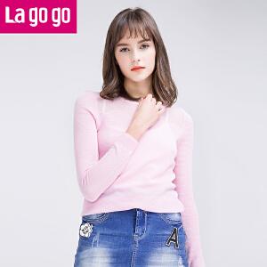 Lagogo/拉谷谷2016春季新款纯色圆领休闲长袖针织衫
