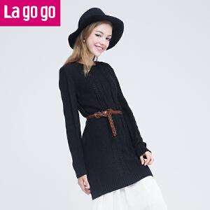 Lagogo2016年秋冬新款黑色中长款套头毛衣长袖上衣针织衫连衣裙
