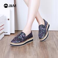 jm快乐玛丽2018春季新款厚底舒适亮片套脚休闲懒人女帆布鞋53016W