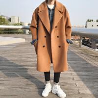 冬季韩版宽松加厚中长新款风衣男士毛呢大衣青年外套
