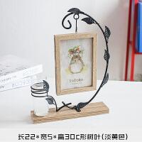 创意摆件花瓶水培北欧简约铁艺木质桌面客厅房间6寸照片相框摆台 6寸
