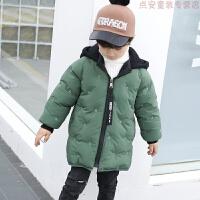 男童2018新款儿童宝宝棉衣中长款韩版外套加厚冬装羽绒棉棉袄 绿色 薄荷绿