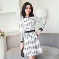 新款连衣裙春秋款韩版白色条纹印花口袋时尚简约a字裙一步裙