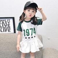 女童连衣裙夏装新款时尚宝宝短袖裙子夏季儿童卫衣裙