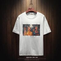胖人夏季装个性印花短袖T恤男加肥大码圆领半袖韩版潮流复古体恤