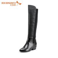 红蜻蜓高筒靴 女鞋新款冬季潮流中粗跟弹力过膝靴长筒靴