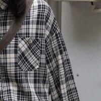 日系文艺百搭黑白格子衬衫女长袖宽松秋季上衣2018新款