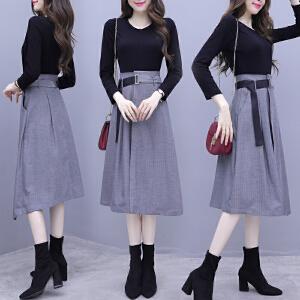 安妮纯晚晚风套装时尚夏季网红漏肩chic气质女神不规则半身长裙两件套装