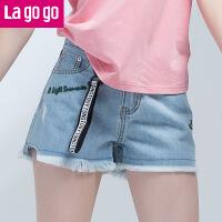 【清仓3折价59.7】Lagogo2019夏季新款热裤刺绣高腰裤子流苏边休闲显瘦牛仔短裤女