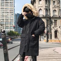 帅气大毛领连帽棉衣宽松韩版中长款加厚大口袋潮棉服男士冬季袄子