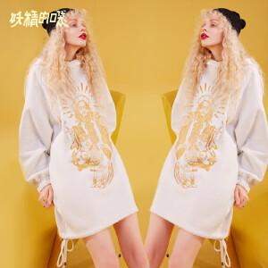 【低至1折起】妖精的口袋帽衫2018新款长袖宽松中长款韩版上衣女秋装套头卫衣