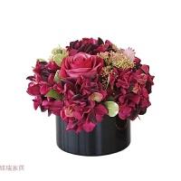 欧式仿真花假花红色玫瑰花瓶套装客厅摆设装饰品家居餐桌花艺摆件
