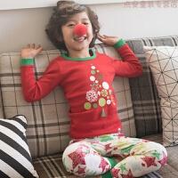 儿童内衣套装圣诞节睡衣童装男女宝宝秋衣秋裤全棉毛衫家居服 红色