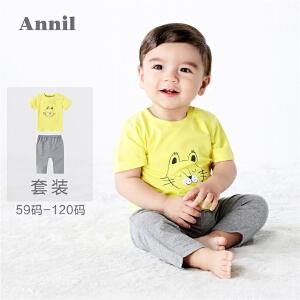 【1件8折后:127.36元】安奈儿童装男童休闲可爱短袖针织套装2019夏装新款YB921258