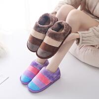泰蜜熊情侣款拼接保暖包跟棉拖鞋居家秋冬防滑女士棉鞋男士室外包跟棉拖鞋
