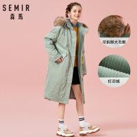 森马棉服女2018冬季长款过膝棉袄女装保暖外套毛领复古灯芯绒潮