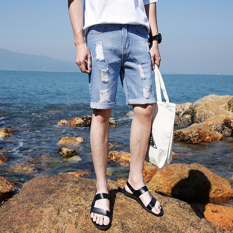 牛仔短裤男士夏季韩版潮五分裤港风衣服宽松休闲百搭男装5分裤 发货周期:一般在付款后2-90天左右发货,具体发货时间请以与客服协商的时间为准