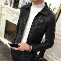 春季男士修身皮夹克薄外套S码矮个子韩版帅气机车服皮衣发型师潮