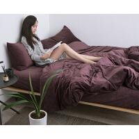秋冬保暖加厚天鹅绒四件套床上用品被套床单床笠款纯色 1.8米床(加大四件套) 床单式套件