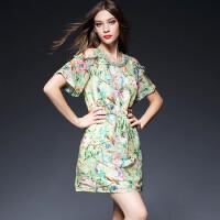 实拍春夏新款丝麻露肩连衣裙钉珠欧美高端精品女装气质修身