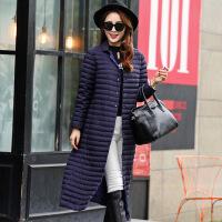 2016韩版冬装新款长款过膝立领单排扣超轻薄羽绒服长袖修身外套女