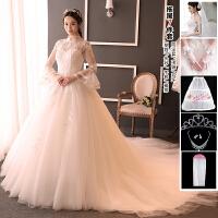 婚纱礼服新娘2018新款韩式立领复古婚纱齐地孕妇长袖拖尾显瘦婚纱