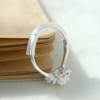原创手工牡丹花白银戒指 999纯银饰品女潮人个性复古学生森系素戒