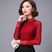 春秋新款韩版时尚高领蕾丝拼接网纱打底衫女大码上衣百搭T恤