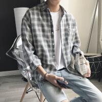 文艺男格子衬衫男士长袖衬衣夏季2018新款韩版学生宽松休闲港仔潮