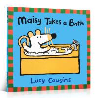 英文原版绘本 Maisy Takes a Bath 小鼠波波 廖彩杏推荐书单少儿童书启蒙阅读英语训练辅导阅读图画故事书