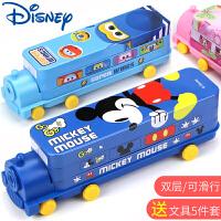 迪士尼文具盒小学生笔盒男童创意汽车造型二层铁盒幼儿园儿童铅笔盒米奇铁皮马口铁文具盒