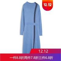 冬装女中长款毛衣裙条纹气质针织连衣裙打底裙33