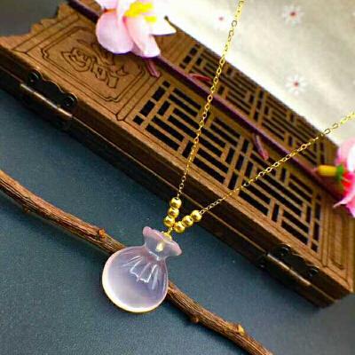 18K金天然芙蓉石(粉水晶)吊坠(不含项链)【DIH】