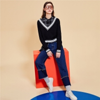 【2.5折到手:86】韩版牛仔裤女冬季新款裤子高腰学生直筒拼接显瘦阔腿长裤女装