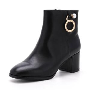 ST&SAT/星期六冬短靴女牛皮方头粗高跟女靴SS74118494