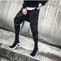 新款秋装青少年潮流休闲哈伦裤个性印花运动束脚裤韩版靴裤发型师