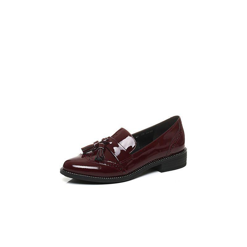 Belle/百丽2017新款秋季时尚英伦漆皮牛皮革女皮鞋BLTD3CM7