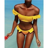欧美新款大胸小胸泳衣bikini荷叶边打褶泡泡纱分体温泉比基尼女